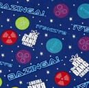 Picture of The Big Bang Theory Bazinga Glow Icons and Words on Blue Cotton Fabric