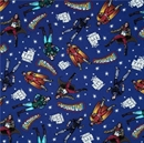 Picture of The Big Bang Theory Heroes in Space Characters on Blue Cotton Fabric