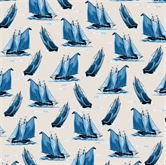 Picture of Sail Away Blue Sailboats Sailing On White Cotton Fabric