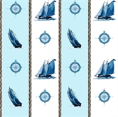 Picture of Sail Away Sailboats And Compass In Stripes Cotton Fabric