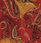 Picture of Marrakesh Redwood Large Paisley Indian Pattern Cotton Fabric