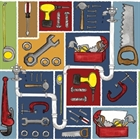 Picture of Tool Box Handy Man Tools Saw Drill Wrench In Squares Cotton Fabric