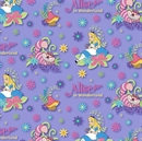 Picture of Disney Alice in Wonderland Cheshire Cat on Lavender Cotton Fabric