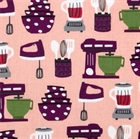 Picture of Table Talk Kitchen Mixers Blenders Beaters on Pink Cotton Fabric