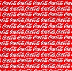 Picture of Coca Cola Classic Words on Red Cotton Fabric