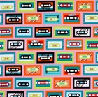 Picture of Beatbox Retro Music Cassette Tapes on Pink Cotton Fabric