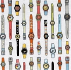 Picture of Geekly Chic Retro Wrist Watches on White Cotton Fabric