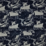 Picture of All Aboard Ships and Boats in the Ocean Grey Navy Toile Cotton Fabric