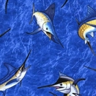 Picture of Blue Marlin Fish Swimming in the Ocean Cotton Fabric