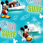 Picture of Disney Mickey Live Love Surf Surfing Mickey Mouse Cotton Fabric