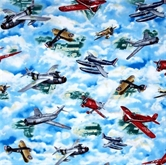 Picture of Wingman Smithsonian Vintage War Planes in the Clouds Cotton Fabric