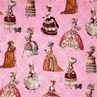 Picture of Paris Panache  High Society Victorian Ladies on Pink Cotton Fabric