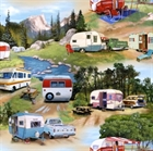 Picture of Vintage Trailers Campers Campground in the Mountains Cotton Fabric
