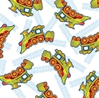 Picture of Buddys Big Adventure Dinosaur Train Trains on White Cotton Fabric