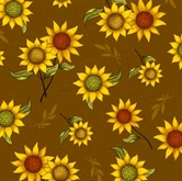 Picture of Sunflower Bouquet Sunflowers Tossed on Brown Cotton Fabric