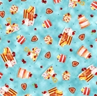 Picture of Afternoon Delight Dessert Toss Cakes and Cookies Blue Cotton Fabric