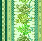 Picture of Herb Garden Decorative Stripe Herbs in Teal and Cream Cotton Fabric