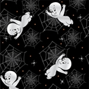 Picture of Creepy Cute Casper the Friendly Ghost with Spiderwebs Cotton Fabric