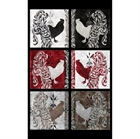 Picture of Bonjour Roosters in Blocks 22x44 Large Cotton Fabric Panel