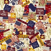 Picture of Made in the U.S.A. Antique Patriotic USA Icons Cotton Fabric