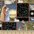 Picture of Holy Night Nativity Good Will to All Peace on Earth Cotton Fabric