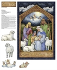 Picture of Holy Night Nativity Oh Come Let Us Adore Him Fabric Craft Panel
