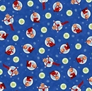 Picture of An Elf Story Holiday Elf on a Shelf Medallions on Blue Cotton Fabric