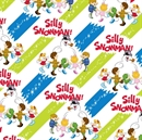 Picture of Silly Snowman Frosty and Children on Blue Green Stripes Cotton Fabric