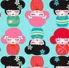 Picture of Hello Tokyo Japanese Kimmidolls on Aqua Cotton Fabric