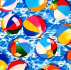 Picture of Colorful Summer Beach Balls on Water Cotton Fabric