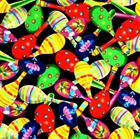Picture of Fiesta Colorful Maracas on Black Cotton Fabric
