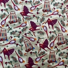 Picture of Summer Vacation Croquet, Tennis, Hummingbirds Cotton Fabric