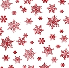 Picture of Holiday Elegance Red Snowflakes on White Cotton Fabric