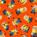 Picture of Despicable Me 1 In A Minion Tossed Minions on Orange Cotton Fabric