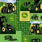 Picture of John Deere Tractors in Squares on Green Plaid Cotton Fabric