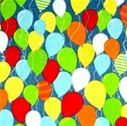 Picture of Surprise! Colorful Birthday Balloons on Blue Cotton Fabric