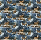 Picture of Wild Wings Wintergreen Scenic Deer in Snow Cotton Fabric