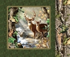 Picture of Realtree Hunting Green Deer Doe Buck Cotton Fabric Pillow Panel