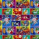 Picture of DC Comics Immortals Heroes in Action Superhero Block Cotton Fabric