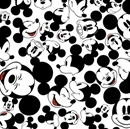 Picture of Disney Many Faces of Mickey Mouse Heads White Cotton Fabric