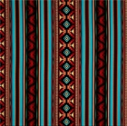 Picture of West Southwest Aztec Terracotta and Turquoise Stripe Cotton Fabric