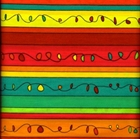 Picture of Dancing Doodles Fancy Stripe Red Yellow Green Stripe Cotton Fabric