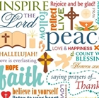 Picture of Words of Faith Peace Lord Prayer Thanks Rejoice White Cotton Fabric