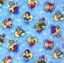 Picture of Flannel Disney Snow White Framed Characters Blue Cotton Fabric