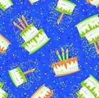 Picture of Party On! Birthday Cake Toss on Blue Happy Birthday Cotton Fabric