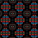 Picture of Flannel Tucson Southwest Aztec Red Turquoise on Black Cotton Fabric