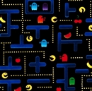 Picture of Pocket Arcade Pac Man Video Game on Black Cotton Fabric