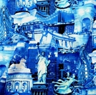 Picture of New York City NYC Cityscape Landmarks Glitter 24x22 Cotton Fabric