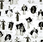 Picture of Glamour Girls Vintage Women in Elegant Dresses Cotton Fabric