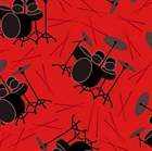 Picture of Let There Be Music Drum Sets Red Cotton Fabric